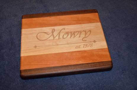 "Engraved # 15 - 04. Black Walnut, Cherry and Hard Maple edge grain. 8"" x 12"" x 1-1/8""."
