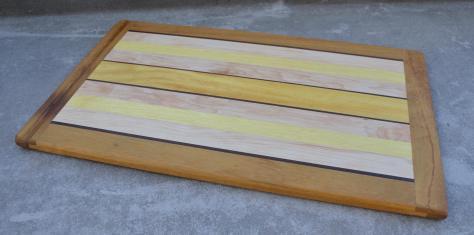 "Cutting Board 14 - 04. Teak, Black Walnut, Hard Maple & Yellowheart. 12"" x 20"" x 3/4""."