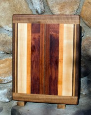 "Cutting Board 17 - 106. Black Walnut, Cherry, Hard Maple, Honey Locust, Bubinga & Jatoba. 12"" x 16"" x 3/4""."