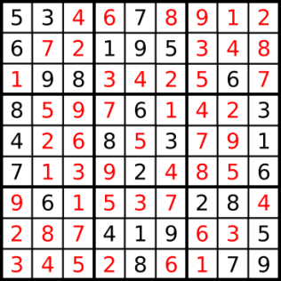 The solved puzzle.