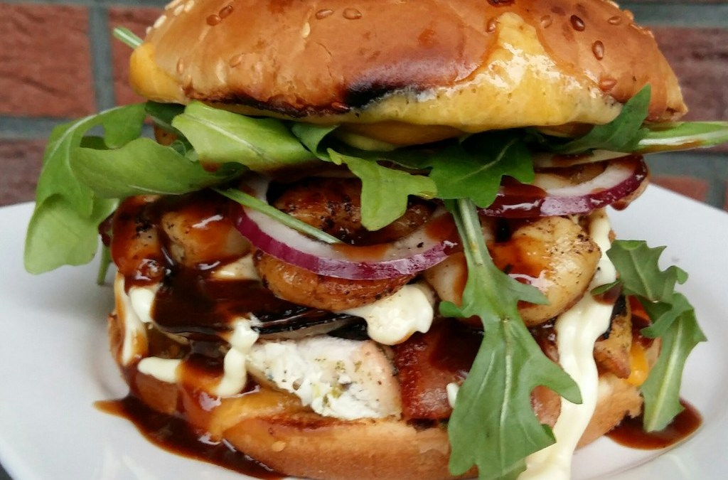 Chicken-Shrimps-Bacon Burger