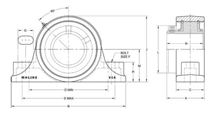 Moline Bearing 19221203 M2000 2BOLT PILLOW BLOCK 2316