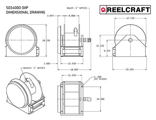 FSD14000 OLP HOSE REEL- 1 X 35FT FUEL W/OUT HOSE- 500 PSI