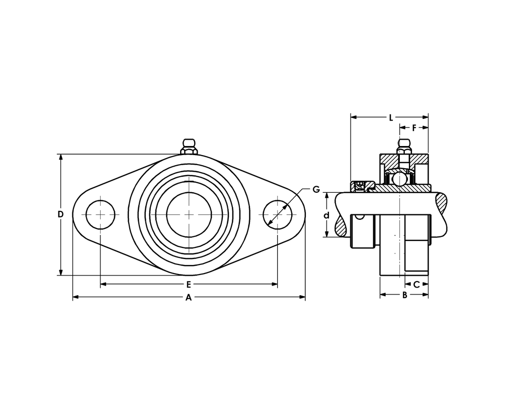 SHCTFL210-32 THERMOPLASTIC 2-BOLT FLANGE BRG-2 SHCTFL 200