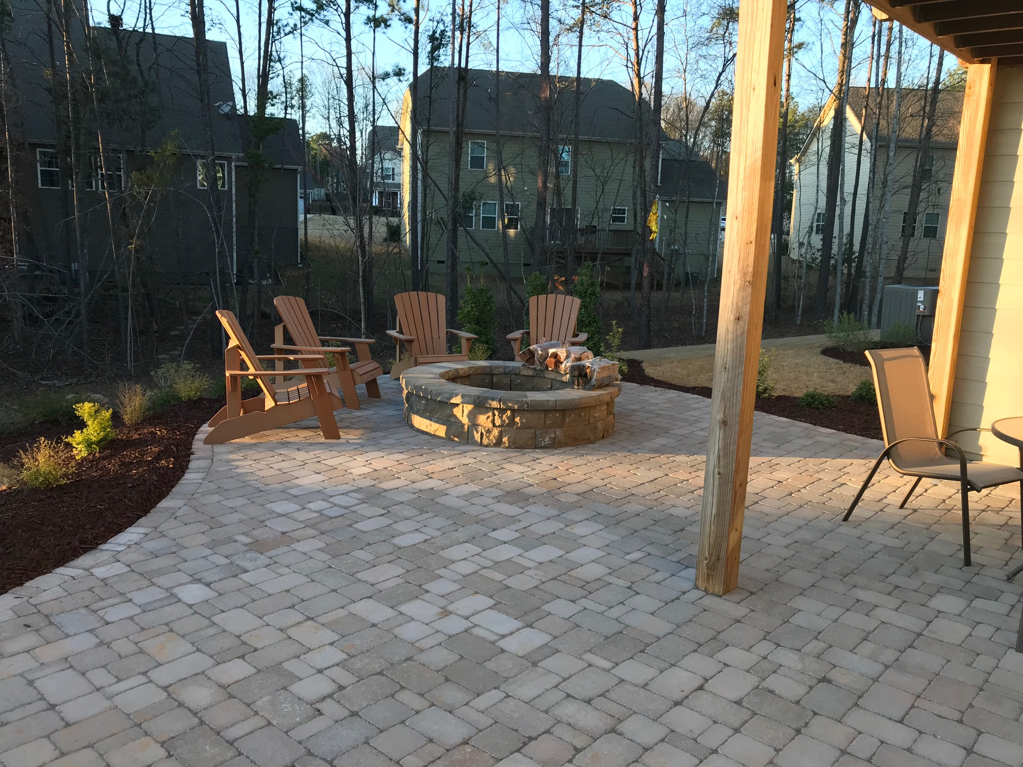 A Belgard Paver Patio Fire Pit and Landscaping  Mr