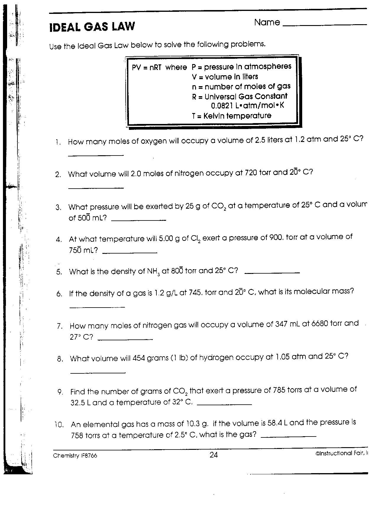 27 Ideal Gas Law Worksheet