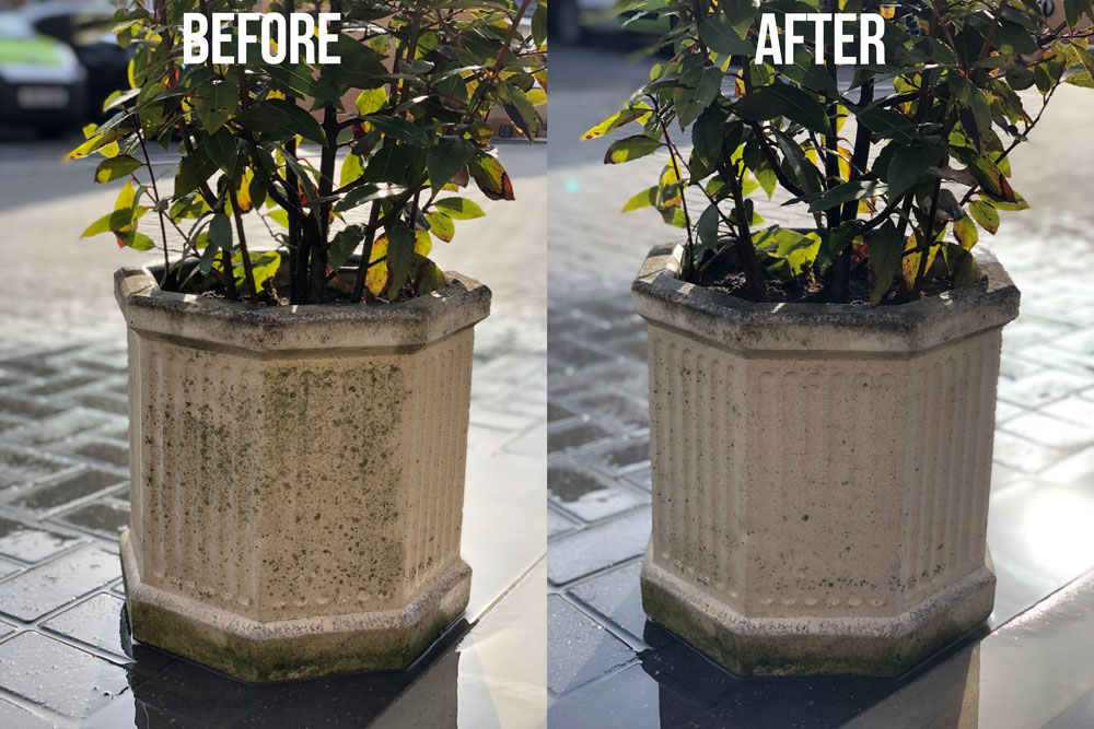 Wolf Blaster 4x4 pressure washer | Plant pot before & after