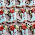 Poinsettia boot biscuits