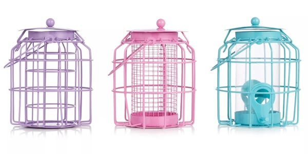 Colourful bird feeders