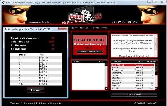 une victoire de scorp0311 sur pokerface52