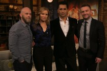 Dave Erickson, Cliff Curtis, Kim Dickens, Chris Hardwick - Talking Dead _ Season 5, Episode 18 - Photo Credit: Jordin Althaus/AMC