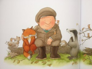Percy with his arm around a sad fox with badger and the squirrels