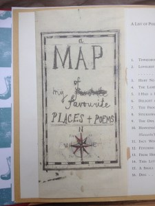 "page of a book showing what looks like a paper cut-out saying ""Map of my favourite places and poems"""