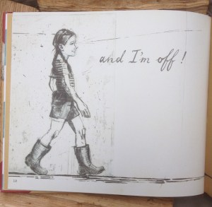 "page of the book with a girl in wellies and the words ""and I'm off!"""