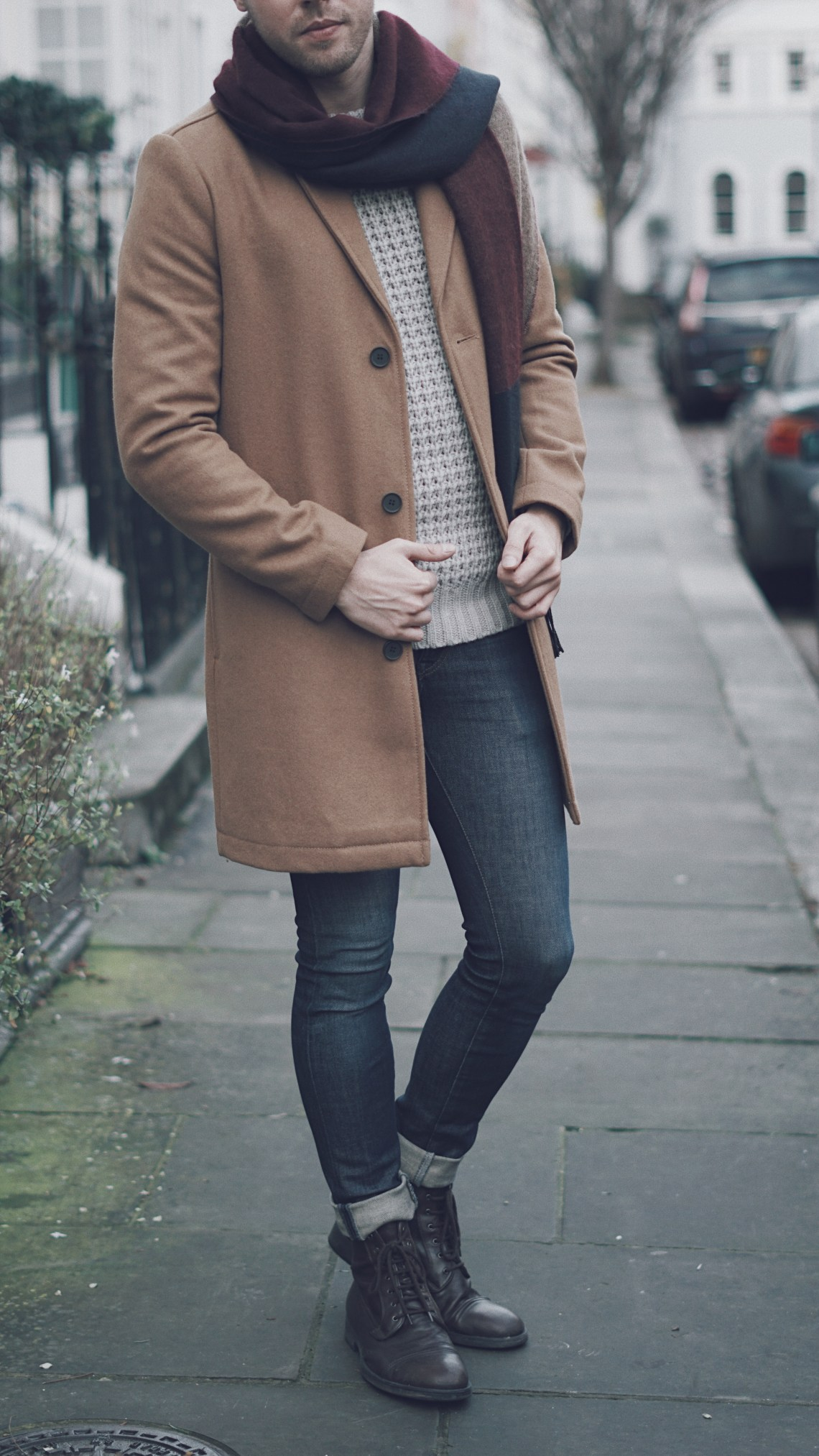 Home for Christmas look. Camel smart overcoat from Topman. Brown leather boots from Geox.
