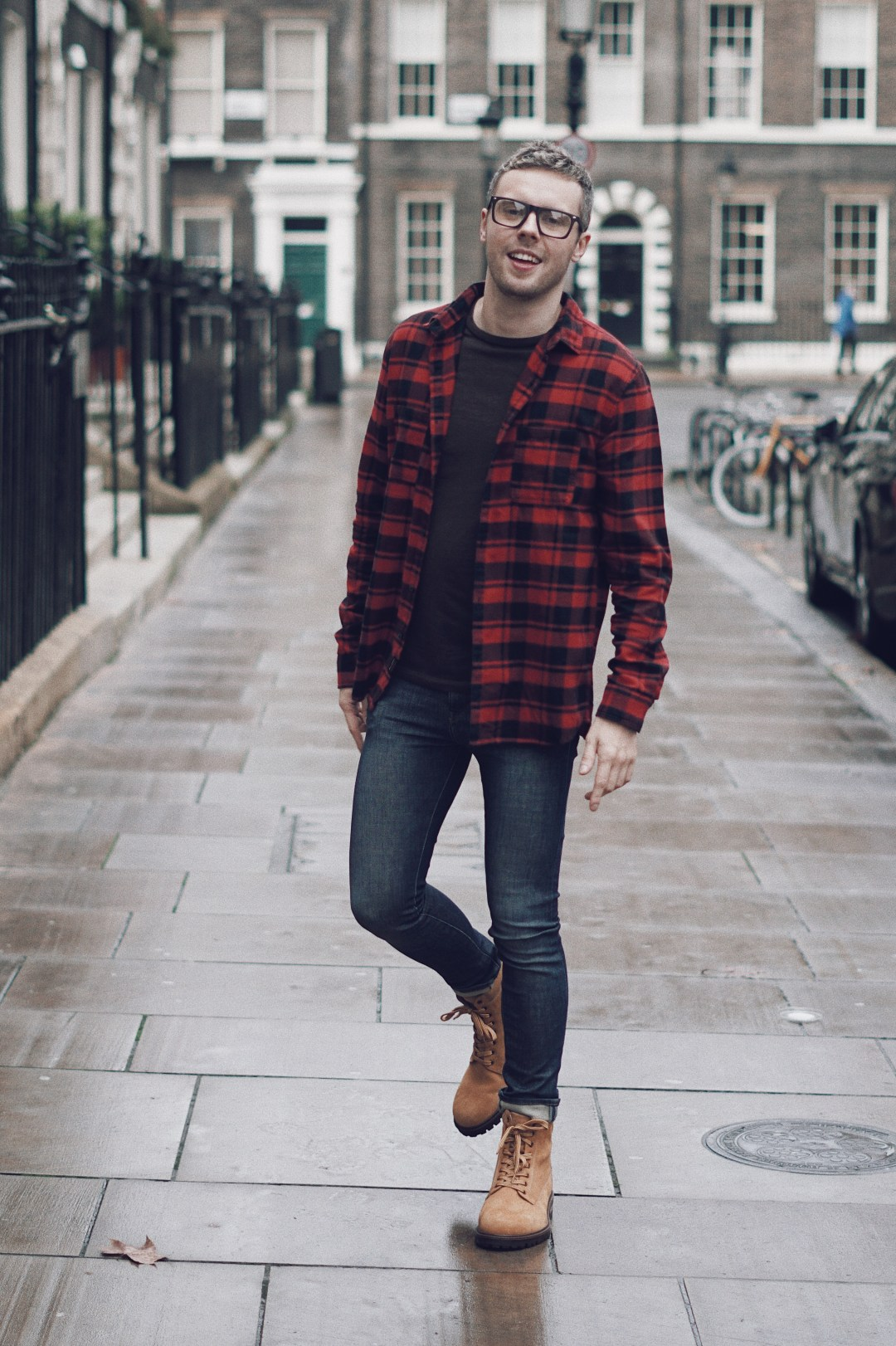 Boots from Zara | Buffalo Check Flannel Shirt and Skinny Jeans from H&M