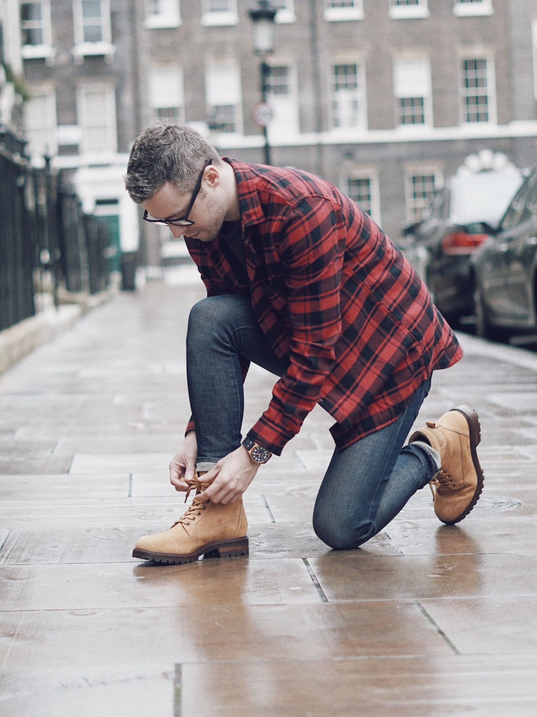 Boots from Zara | Buffalo Check Flannel Shirt and Skinny Jeans from H&M | Watch from TW Steel