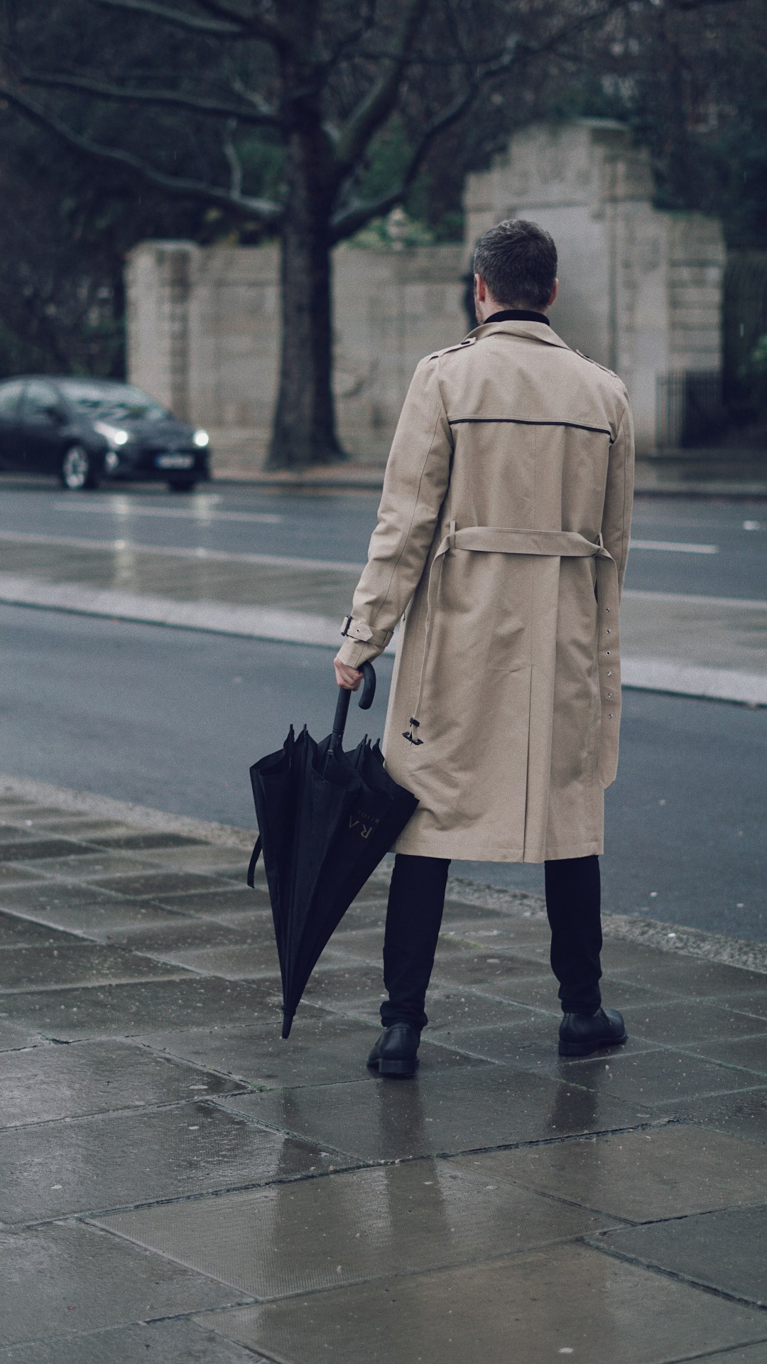Rainy Days in London. Wearing ASOS Shower Resistant Longline Trench Coat With Belt In Stone and Longline Rib Knitted Roll Neck in Muscle Fit