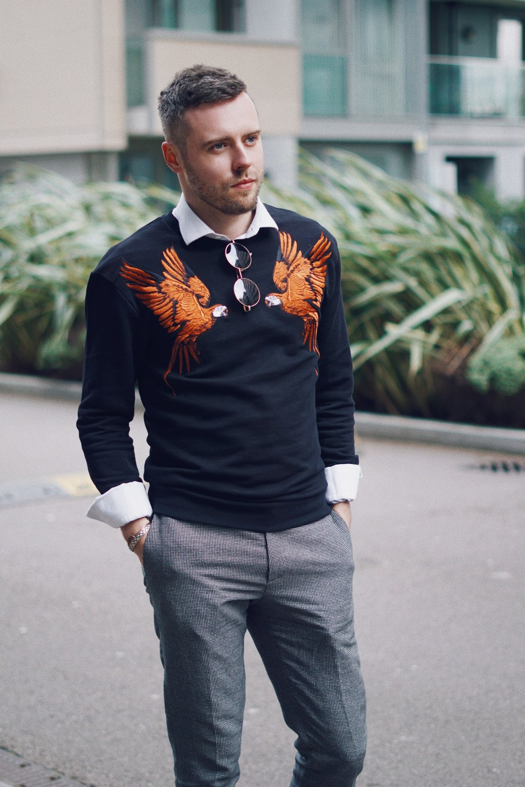 Wearing Parrots Sweatshirt from Zara, Checked Suit Trousers from Zara and Classic Shirt from River Island. UK Menswear Blogger.