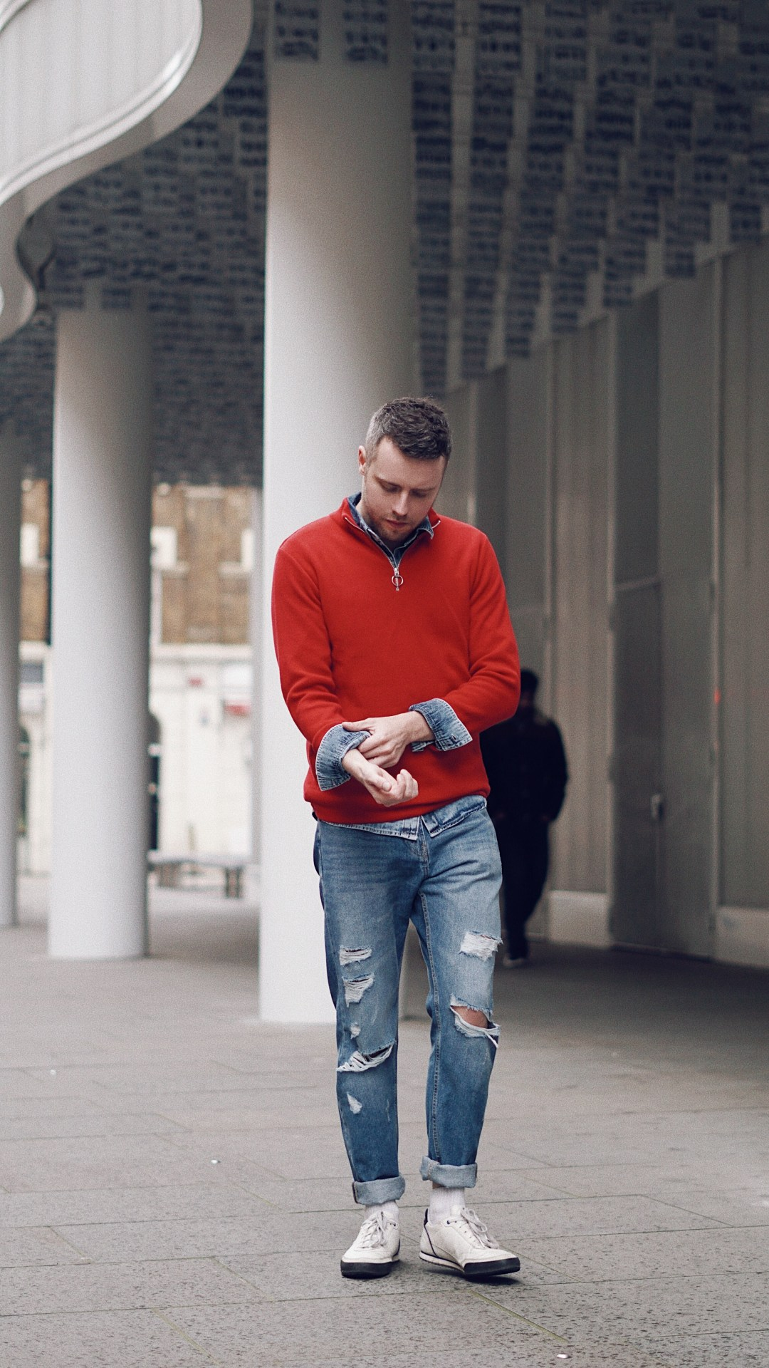 Sporting double denim with a bright colour. Wearing SHOP: High Neck Sweater from Zara, Denim Shirt from H&M, Relaxed Skinny Jeans from H&M and Trainers from Le Coq Sportfit.