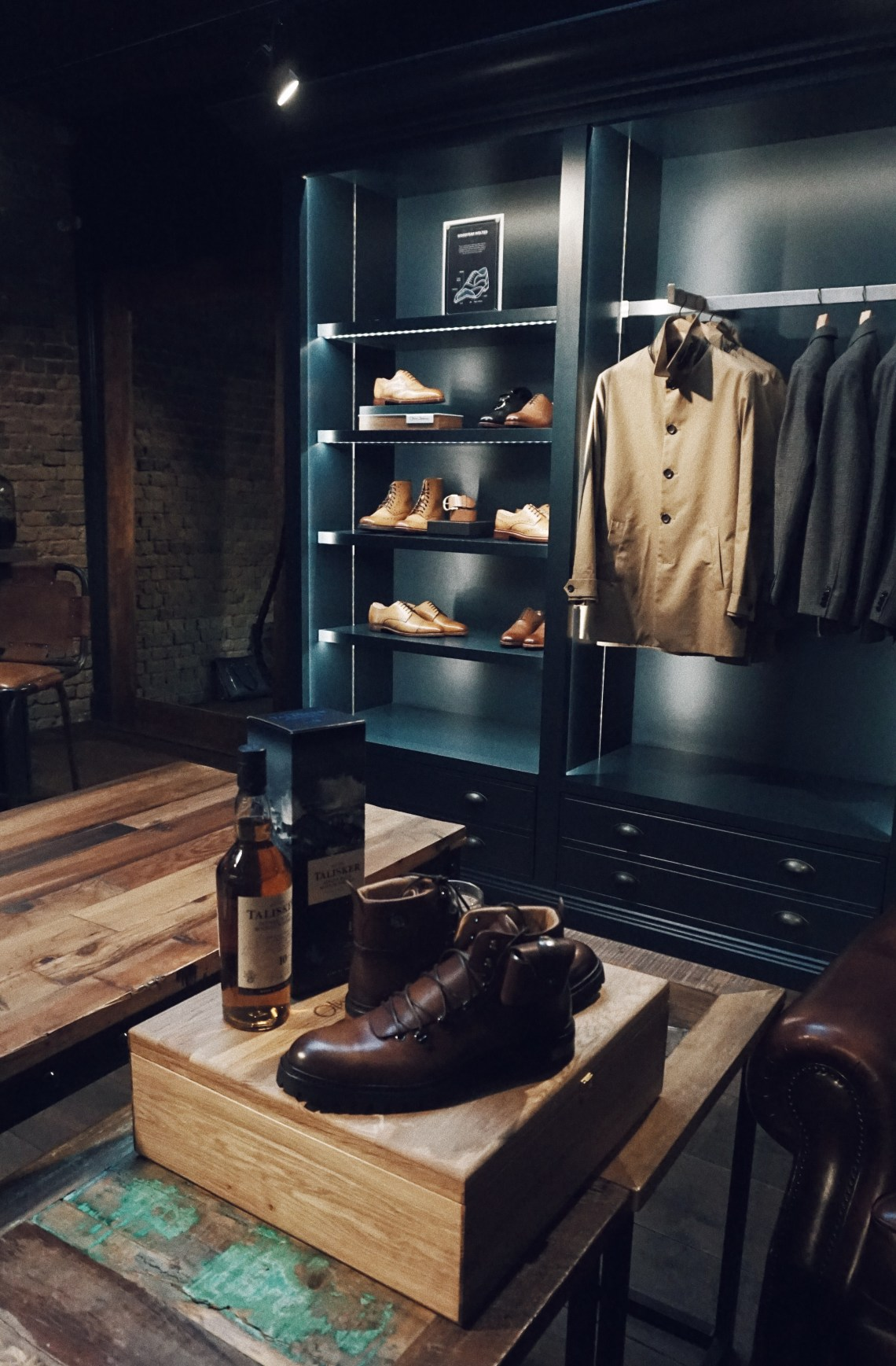 Oliver Sweeney store in Covent Garden. Made by the Sea limited edition boots and Talisker Scotch Whisky. Blog by Skirmantas Petraitis.