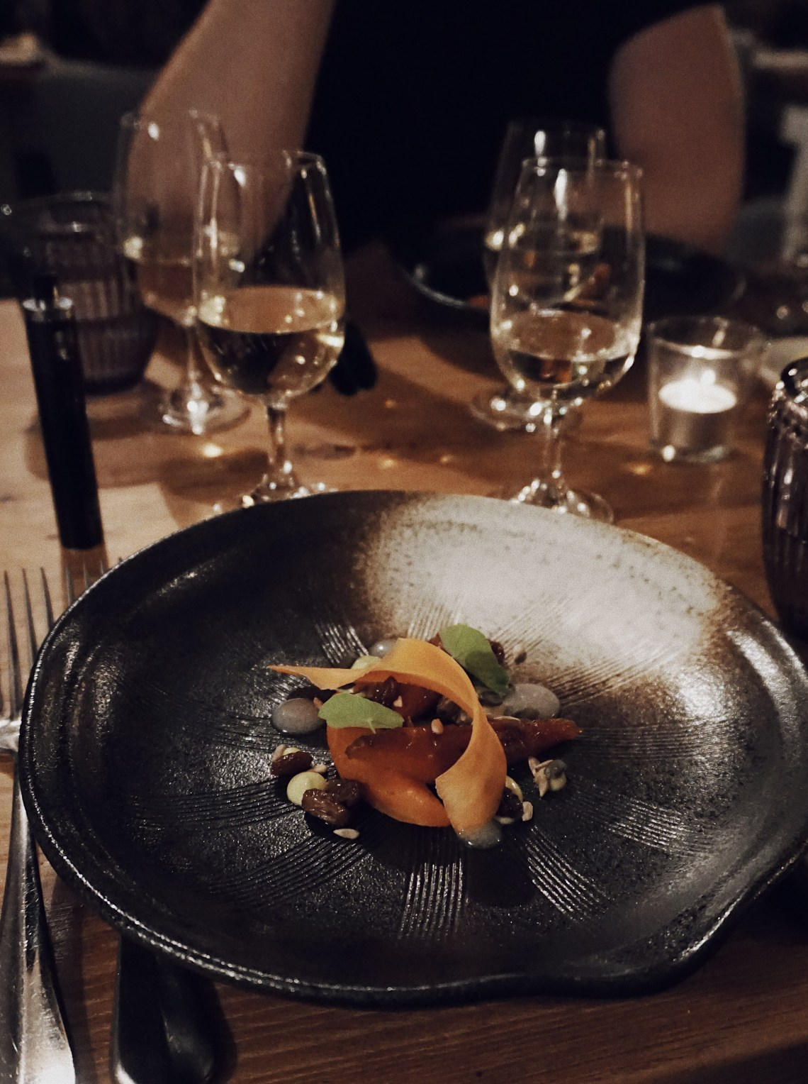 "Roasted carrot, raisin, lime, nasturtium and Royal Tokaji ""The Oddity"" Dry Furmint 2014. Tudor Farmhouse, a boutique retreat in the Forest of Dean and Wye Valley. Blog by Skirmantas Petraitis."