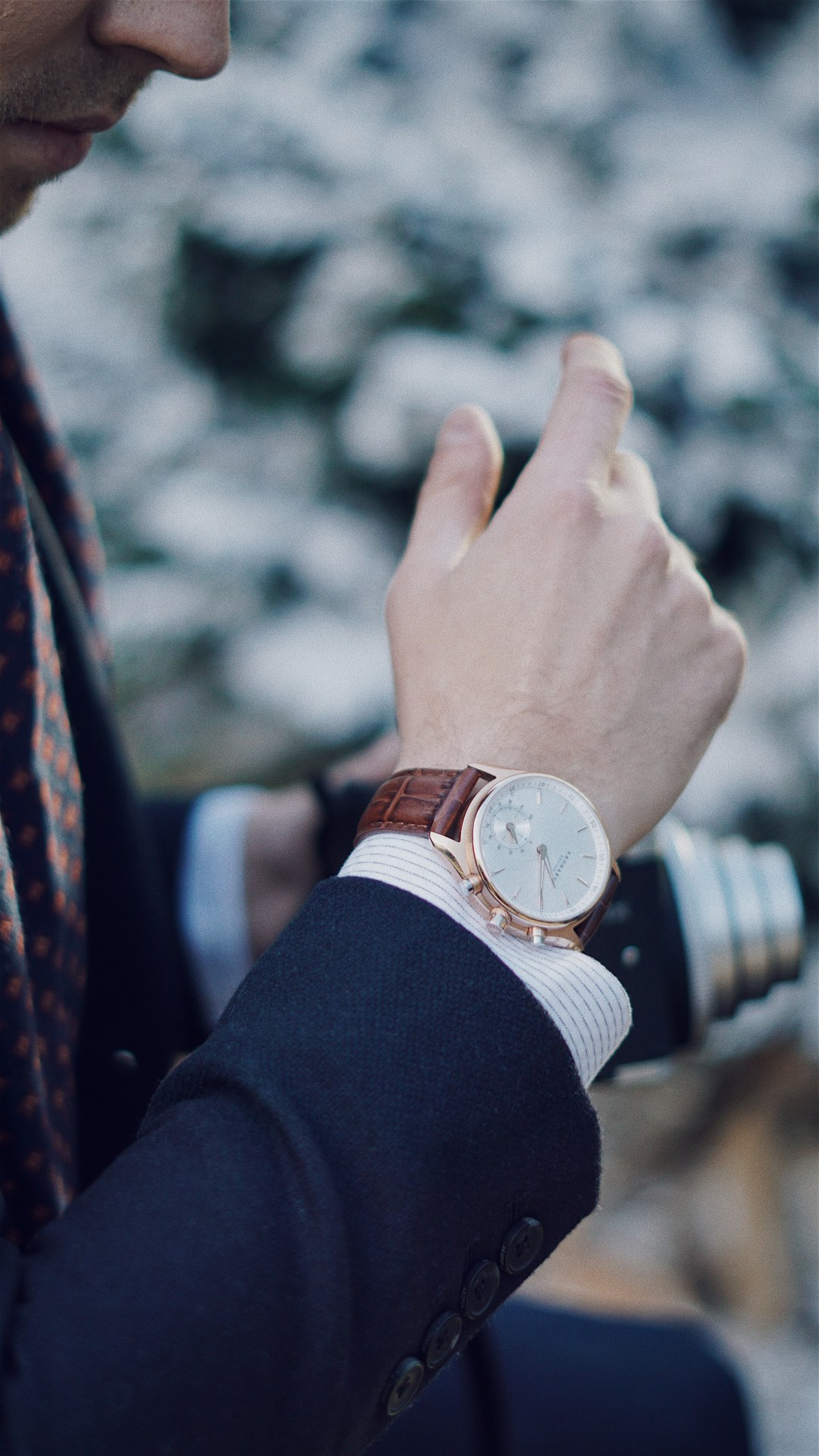 The Party Season at Debenhams. The Winter Forest at Broadgate. Wearing Sekel Role Gold Watch With Silver Dial and Brown Leather Strap from Kronaby Sweden. Blog by Skirmantas Petraitis.