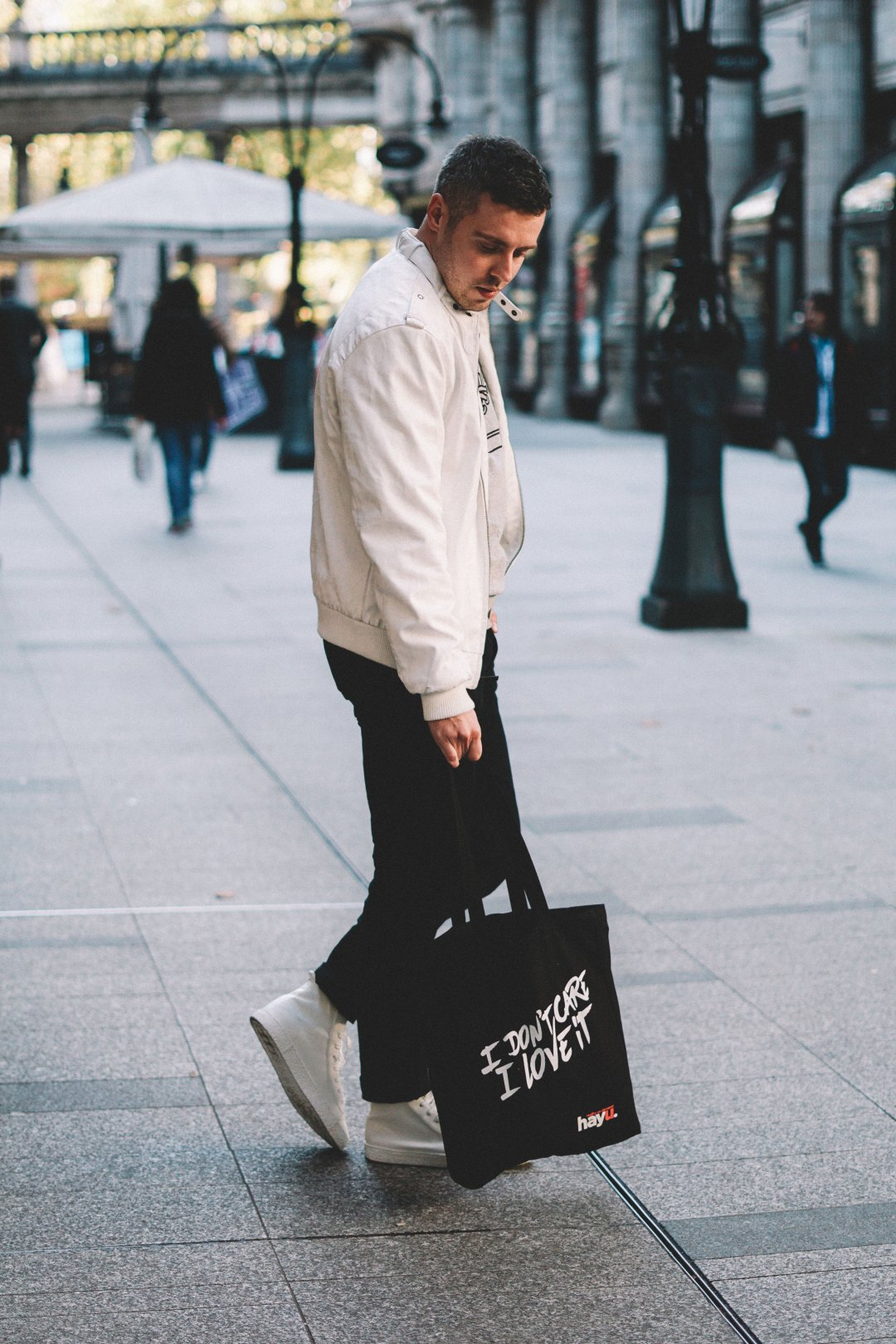 Wearing Members Only Men's Classic Iconic Racer Jacket in White, French Connection Sneaker Sweatshirt in Grey Melange/Black and ASOS High Top Trainers in White-on Crepe Look Sole. Blog by Skirmantas Petraitis.