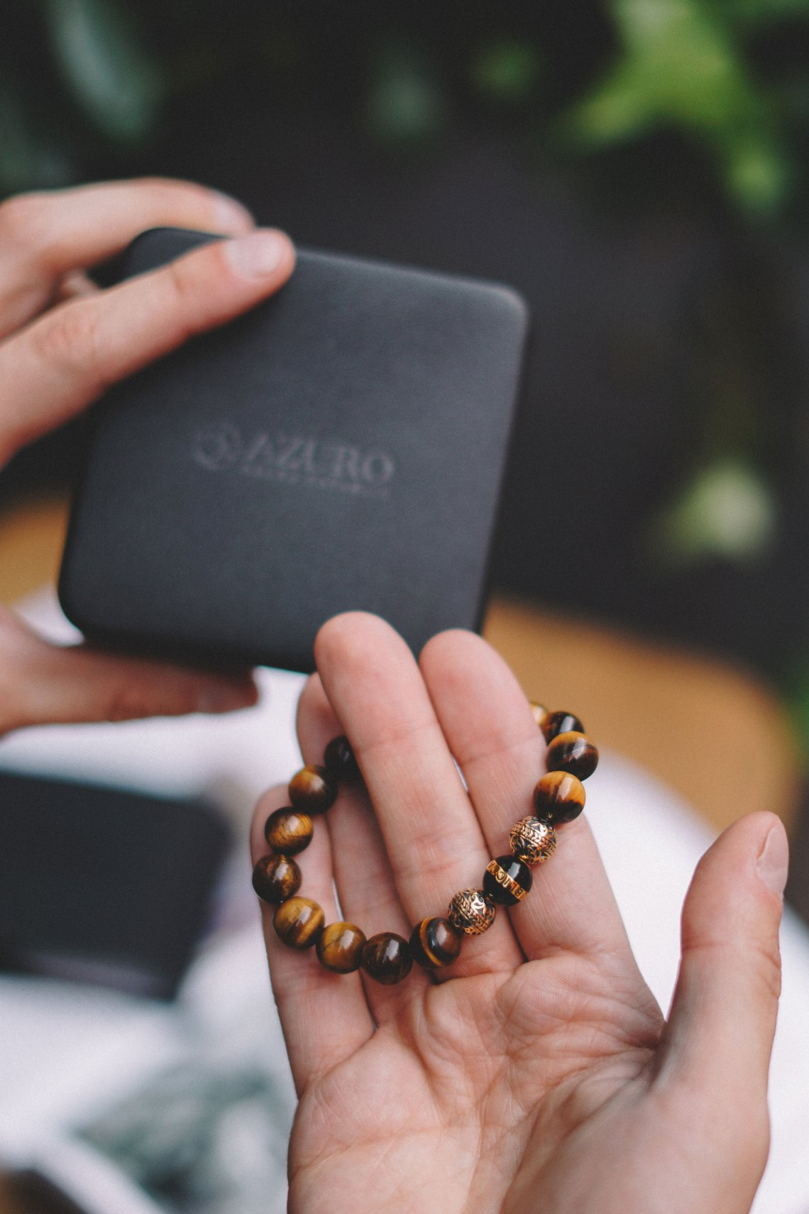 Gold Enamel Black Tiger Eye Bracelet from AZURO REPUBLIC. Shot in Marylebone, London. Blog by Skirmantas.