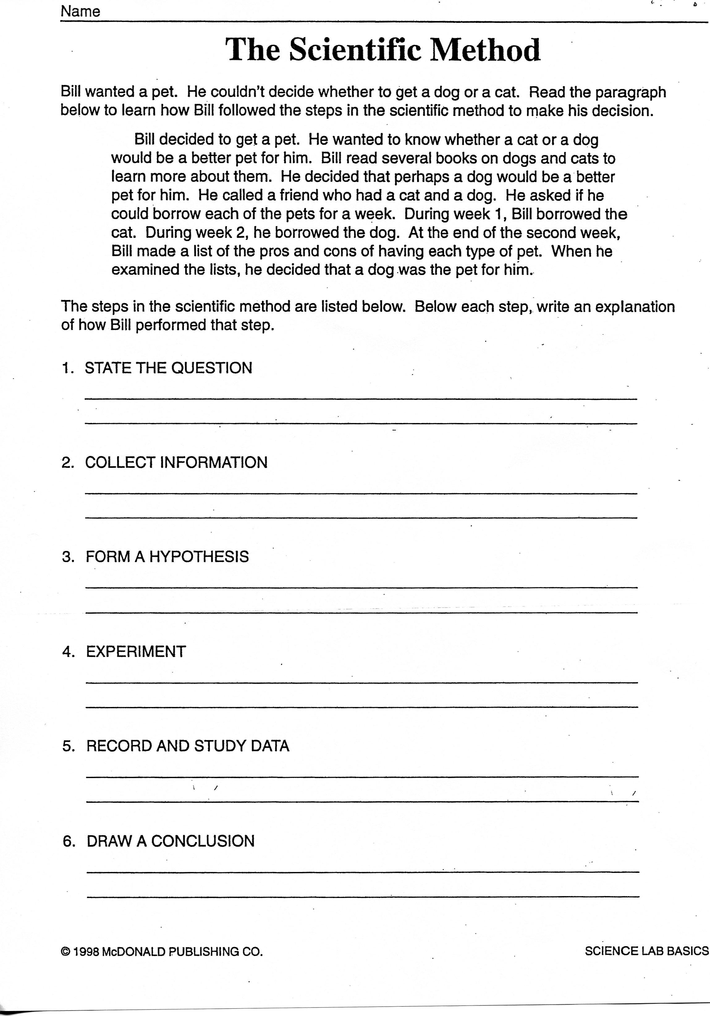 Scientific Method Examples Worksheet High School