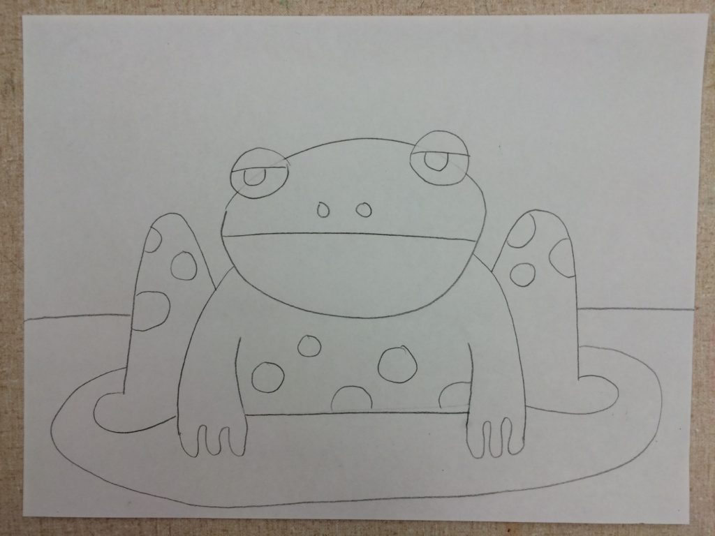 After you add the lily pad, draw the horizon and give that frog some speckles