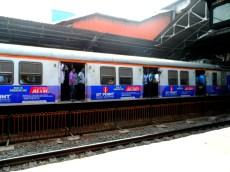 Catching a train in Mumbai