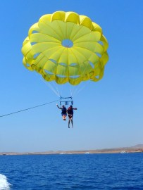 Parasailing over the Egyptian sea