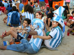 Just a few of the many Argentina fans