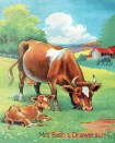 1930s farmyard illustration - cow and calf image