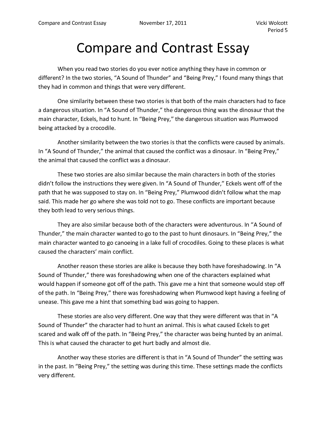 Compare Essay Compare Contrast Essay 5th Grade Discount Research