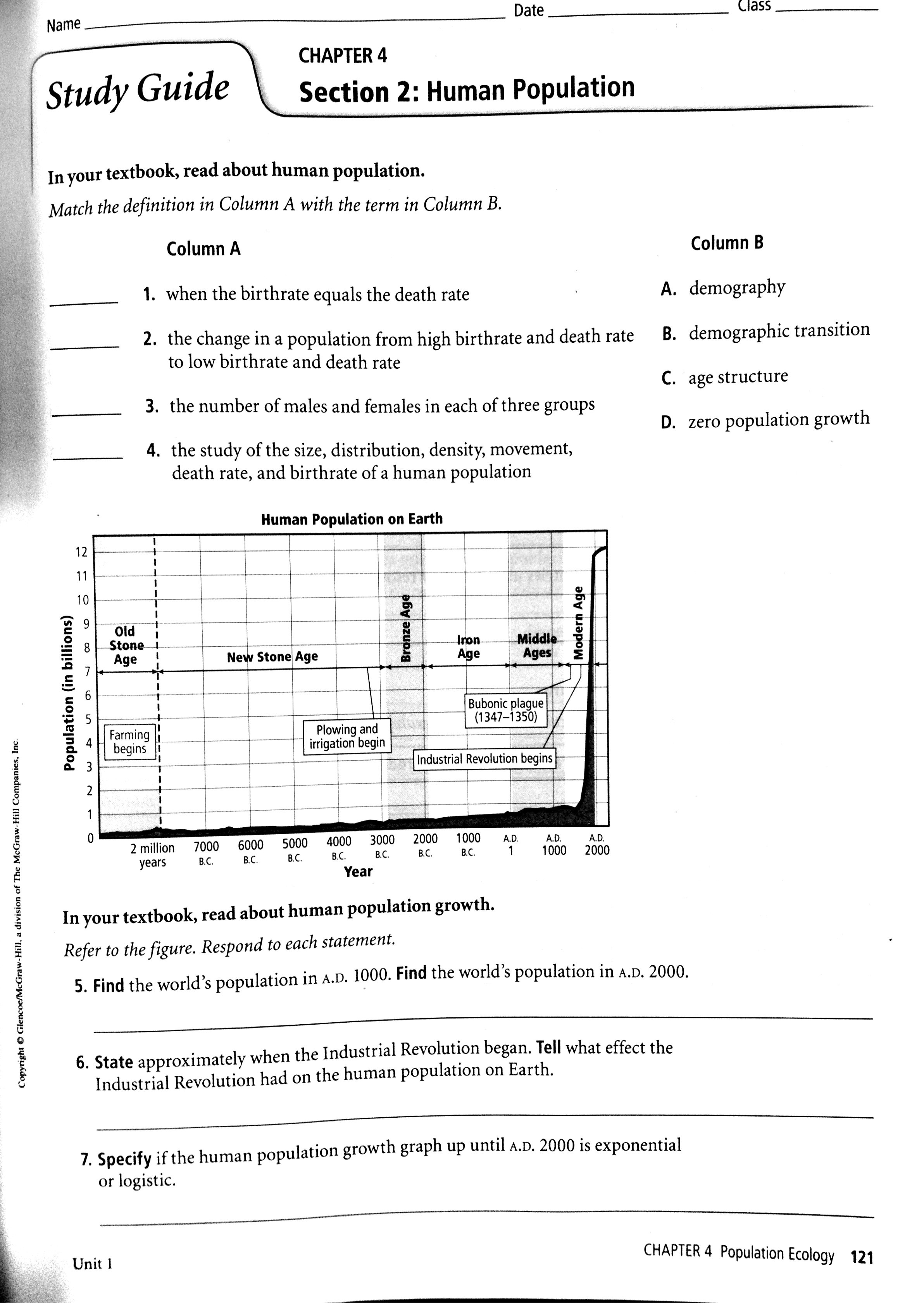 Ecology Population Growth Worksheet Printable Worksheets