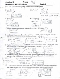 mrscabral / Algebra 2 Worksheet Answers