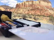 I tested out my traveling watercolor set from C.J. After Ghost ranch we toured Georgia O'Keefe's Abique house...no photos allowed.