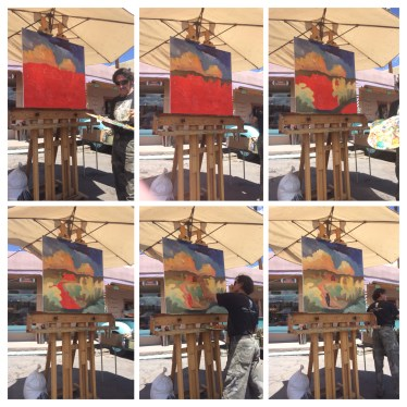 Ed Sandoval is an artist in Taos and he did a demonstration for us one morning.
