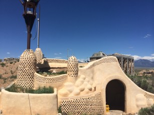 The earthships in the Taos area are sustained off just 8 inches of precipitation each year-that includes snow melt.