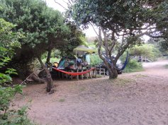 Our camp site, taken from the edge of the path to the beach