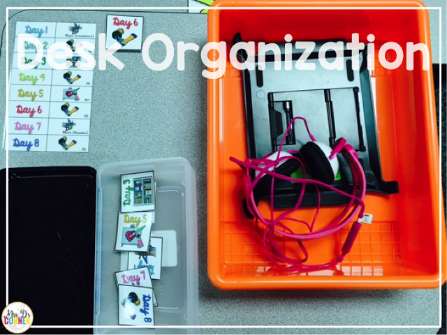 The color coded desk bin includes everything a child needs for iPad time, morning meeting, and calendar.