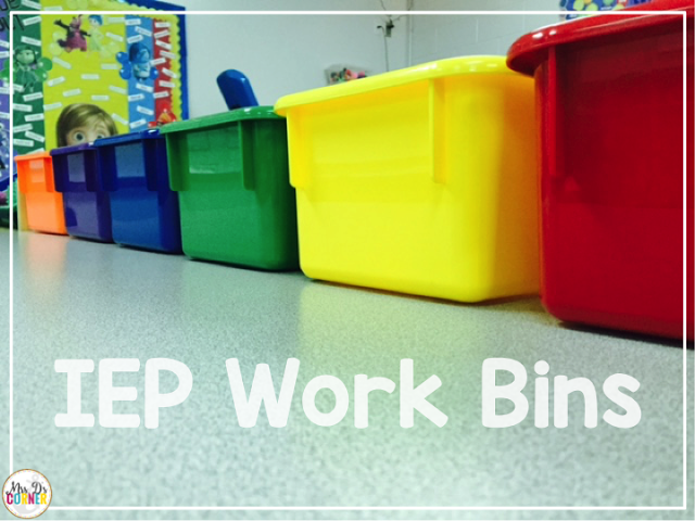 I use color coded bins, the size of a shoe box, for IEP work bins, work tasks and task boxes. They help students stay organized.