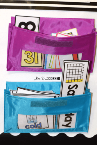 Use magnetic pockets on the whiteboard to store extra interactive pieces for your calendar center.