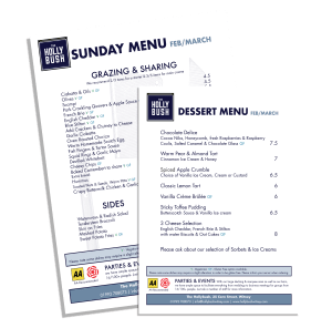 Hollybush Menus