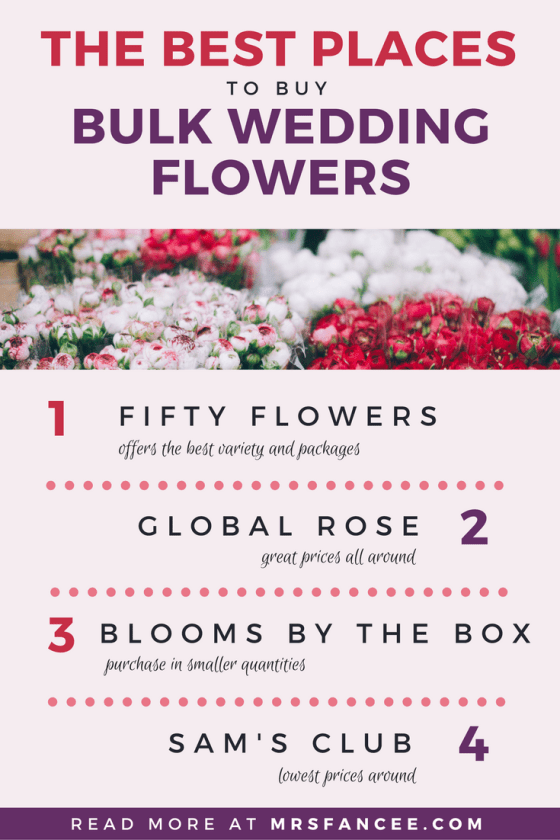 The easiest way to save money on your wedding day is to buy bulk wedding flowers online and DIY them yourself. For our wedding, we bought our flowers in bulk from a few different online floral wholesalers and saved a bundle! Here are my top places to buy flowers in bulk for your wedding, from my own personal experience: