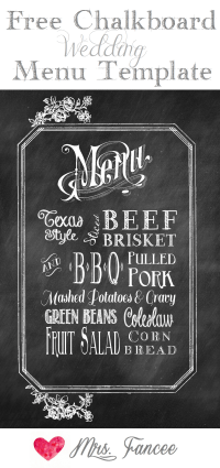 Chalkboard Wedding Menu {free template}