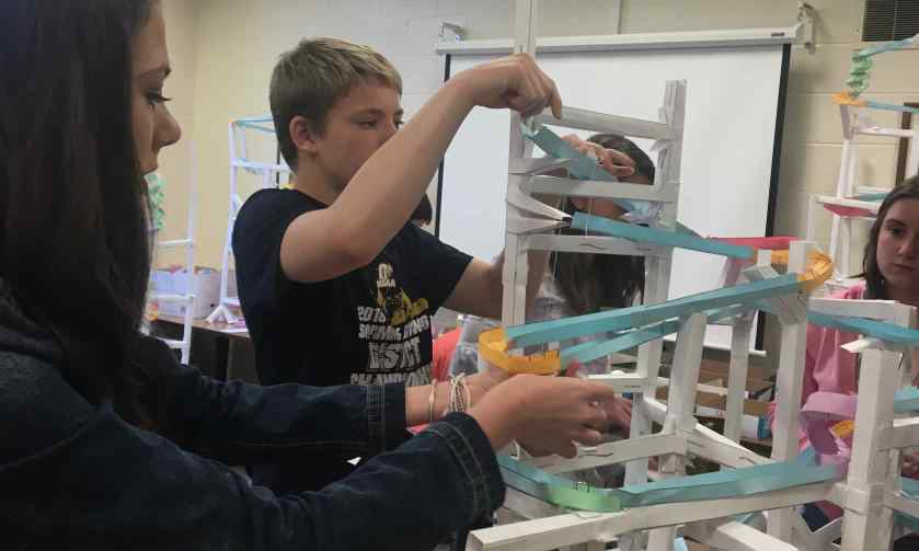 picture of students building roller coaster