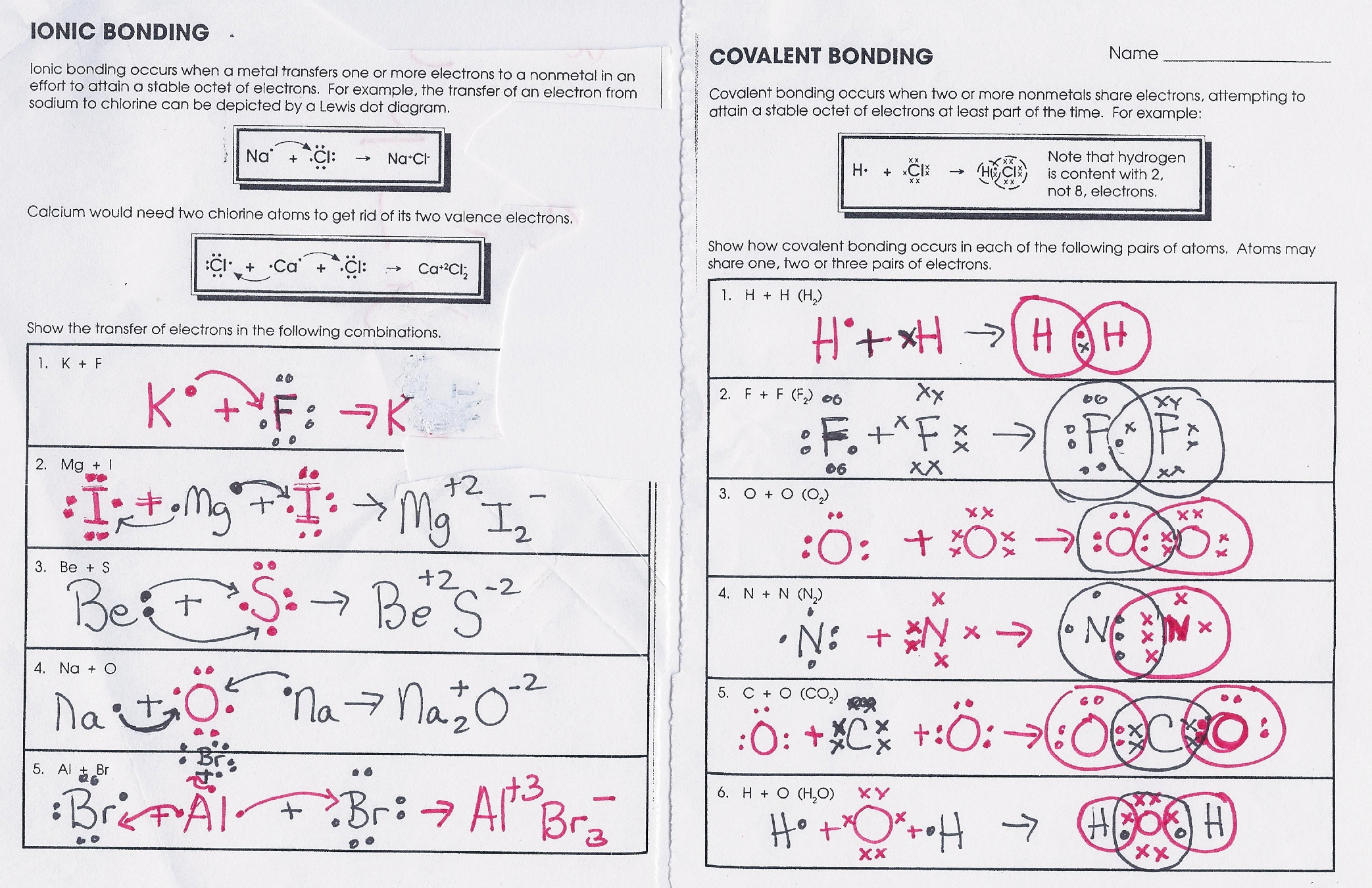 Chapter 8 Covalent Bonding Notes From Video Answer Key